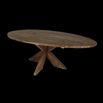 Ovale eettafel teak X3D poot, kleur vintage