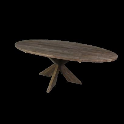 Ovale eettafel teak X3D poot, kleur old grey