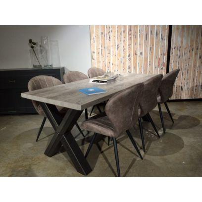 Kruispoot eettafel + 6 stoelen Magic
