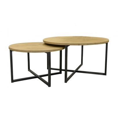 Metaalframe salontafel set rond